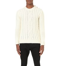 Balmain Cable Knit Wool Jumper White