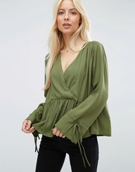 Asos Oversized Wrap Blouse With Dip Hem Olive Green