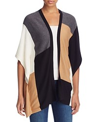 Avec Color Block Poncho Cardigan Black Toffee