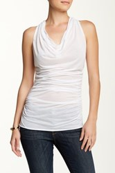 Sweet Pea Scoop Neck Ruched Tank White