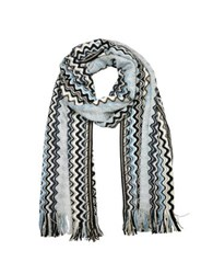 Missoni Zig Zag Viscose And Wool Lurex Long Scarf Silver