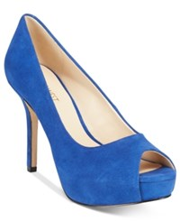 Nine West Qtpie Peep Toe Pumps Women's Shoes Blue Suede