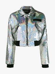 Filles A Papa Chiara Sequin Embellished Bomber Jacket Silver Black