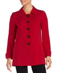 Tahari Arthur S. Levine Petite Carol Five Button Coat Red