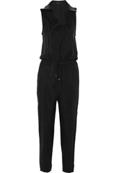 Karl Lagerfeld Agnes Leather Trimmed Washed Twill Jumpsuit Black
