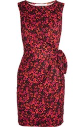 Diane Von Furstenberg Della Gathered Printed Silk Jersey Mini Dress Magenta