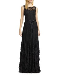 Teri Jon By Rickie Freeman Pintuck Dot Gown Black