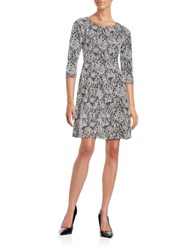 Taylor Three Quarter Sleeve Floral Jacquard Fit And Flare Dress Black Ivory