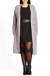 City Chic Plus Size Women's 'Aztec Weave' Pointelle Longline Cardigan Dove