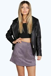 Boohoo Sarah Studded Faux Suede Skirt Grey