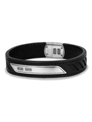 David Yurman Graphic Cable Leather Id Bracelet Black