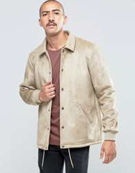 Asos Faux Suede Coach Jacket In Stone Stone