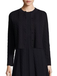 Tory Burch Palais Merino Wool Cable Knit Cardigan Navy