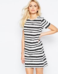 Daisy Street Shift Dress In Blurred Stripe Print White