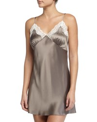 Neiman Marcus New Body Lace Trimmed Chemise Mink Ivory