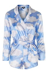 Cloud Print Silky Playsuit By Jaded London Blue
