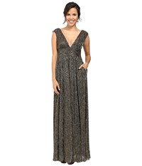Aidan Mattox Sleeveless Metallic Lurex Long V Neck Gown Black Bronze Women's Dress