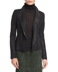 Elie Tahari Carmen Distressed Leather Jacket Women's Black