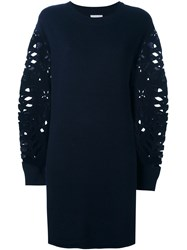 See By Chloe Floral Cut Out Sleeve Dress Blue