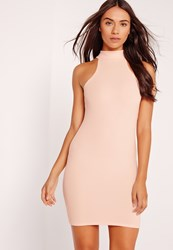 Missguided High Neck Bodycon Dress Nude Beige