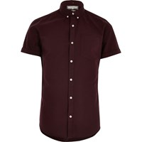 River Island Mens Red Slim Fit Short Sleeve Oxford Shirt