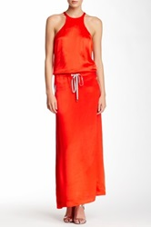 L.A.M.B. Viscose Satin Maxi Column Dress Orange