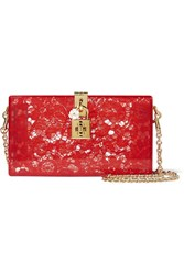 Dolce And Gabbana Lace Perspex Box Clutch Red