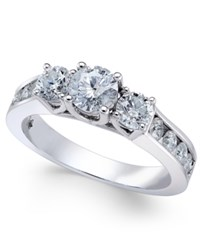 Macy's Diamond Trinity Channel Set Engagement Ring 1 1 2 Ct. T.W. In 14K White Gold