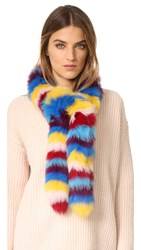 Jocelyn Multi Fox Fur Scarf Bright Multi