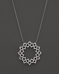 Kc Designs Diamond Lattice Circle Pendant Necklace In 14K White Gold 16