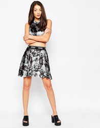 Jaded London Grey Velvet Skater Skirt Grey