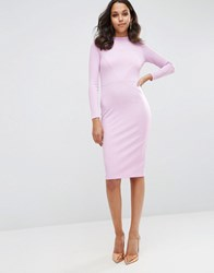 Asos Bodycon Dress With Sexy Seam Detail In Rib Pink