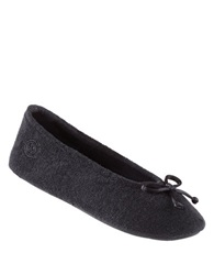 Isotoner Terry Ballet Flat Slippers Black