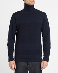 Norse Projects Navy Skagen Bubble Knit Wool Polo Neck Sweater Blue