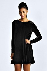 Boohoo Velvet Long Sleeve Swing Dress Black