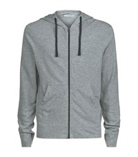 James Perse Vintage Cotton Zip Up Hoodie Male Grey