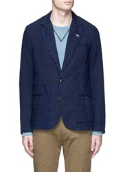 Scotch And Soda Slim Fit Cotton Linen Soft Blazer Blue