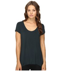 Heather Scoop Neck Tee Amulet Women's Short Sleeve Pullover Blue