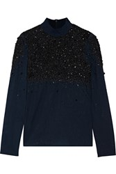 Badgley Mischka Sequin And Bead Embellished Tulle Top Blue