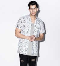 White Calf Hair Underprint Button Down Shirt