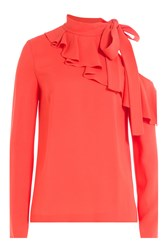 Emilio Pucci Top With Cut Out Shoulder And Ruffles Front Red