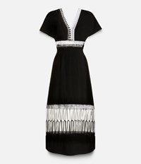 Christopher Kane Loop Trim V Neck Midi Dress Black