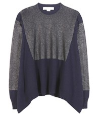 Stella Mccartney Coated Cashmere And Wool Sweater Blue