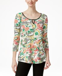 Miraclesuit Floral Print Three Quarter Sleeve Top Stitch Flroal Moss