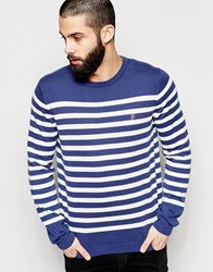 Farah Jumper With Breton Stripe Regular Fit Navy