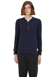 Thom Browne Ribbed Knit Henley Sweater Navy