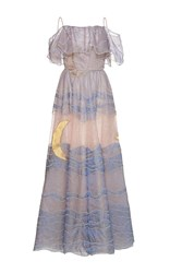 Sandra Mansour Claire De Lune Tulle Embroidered Long Dress Pink Blue Gold