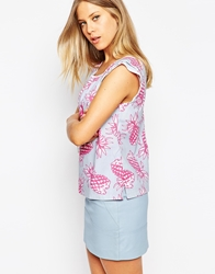 Emily And Fin Emily And Fin Printed Top With Fluted Sleeves 501Mint