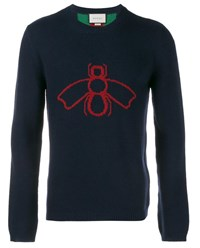 Gucci Bee And Web Jacquard Wool Sweater Navy Red Green