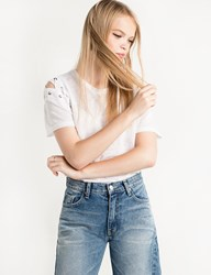 Pixie Market White Lace Up Eyelet Shoulder Tee By New Revival